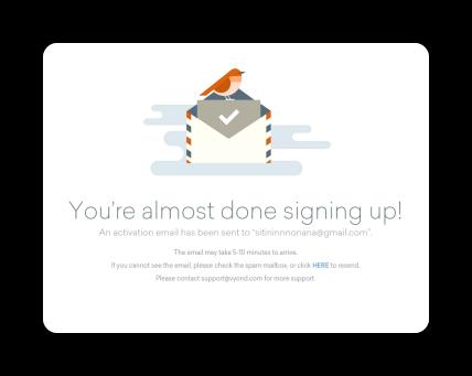 VYONDの確認メール送信画面