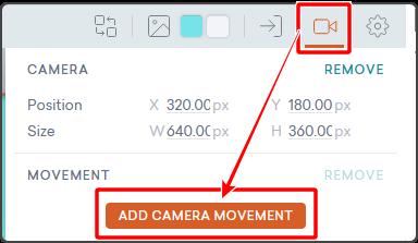 ADD CAMERA MOVEMENT ボタン
