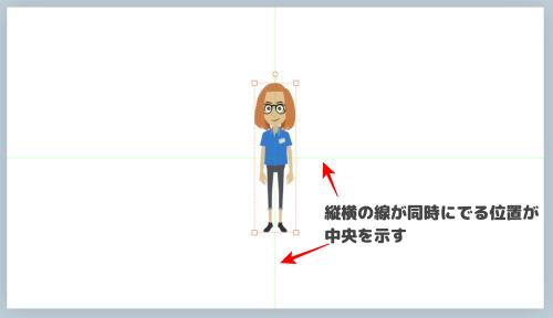 縦横の線が同時にでる位置が中央を示す