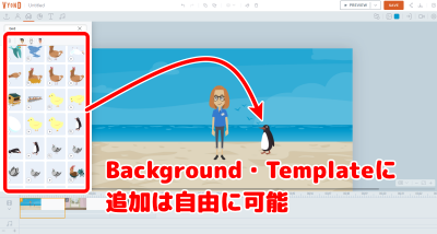 Background・Templateに追加は自由に可能