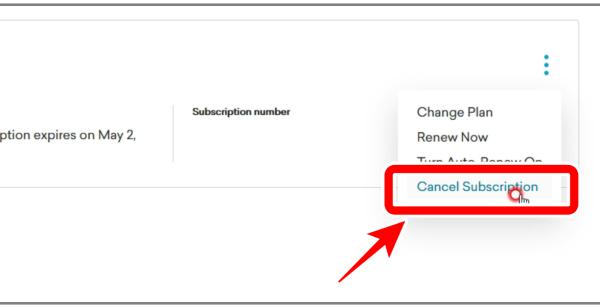 Cancel Subscriptionをクリック